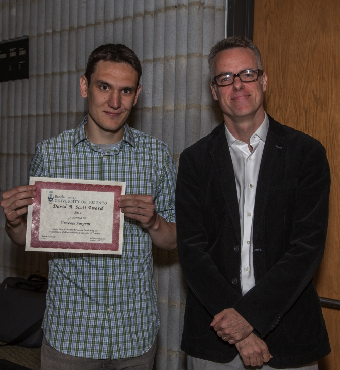 Graeme Sarget received the David A. Scott award for top all-round student that includes service, teaching and research. Congratulations Graeme!