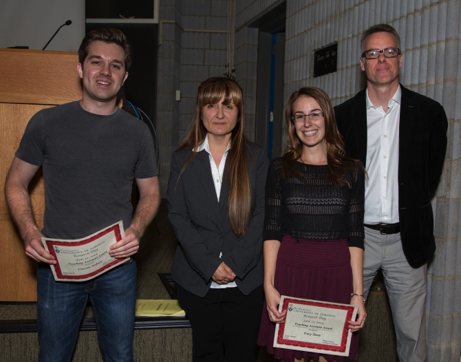 Outstanding TA awards went to Vince Nadeau (BCH210 lecture course) and Tracy Stone (BCH370 lab course) for their excellence in undergraduate teaching