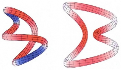 Writhe compensation in small DNA circles with a hook-like juxtaposition
