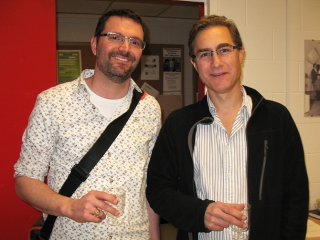 Alex Ensminger (left) enjoys some post-seminar refreshment with Jim Rini.