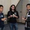 Angus Lau, Matthew Bourkas and Hamza Arshad  enjoy breakfast