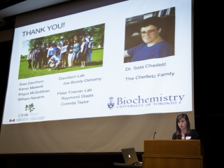April Pawluk (Davidson lab) presents the Sela Cheifetz award talk for top PhD student beyond year 3