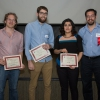 Martin Daniel-Ivad, Zev Ripstein  and Frozan Safi receive MSc poster awards from Alex Palazzo