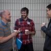Simon Sharpe, Greg Cole and Jason Yau enjoy the coffee break