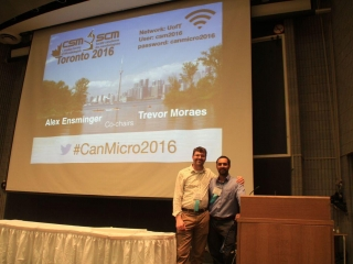 An image of Alex Ensminger (left) and Trevor Moraes (right) at the 66th annual CSM.
