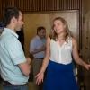 Elizabeth Osterlund works on her persuasive skills with J-P Julien