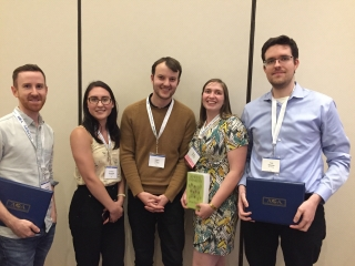 An image of student winner, from left to right: Matt McCallum, Andreea Gheorghita, Ondrej Halgas, Natalie Bamford and Thomas Bateman.