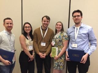 An image of student winner, from left to right: Matt McCallum, Andreea Gheorghita, Ondrej Halgas, Natalie Bamford and Thomas Bateman.