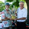 Winning ERADicals members David Williams and Reinhart Reithmeier hoist the Biochemistry Cup